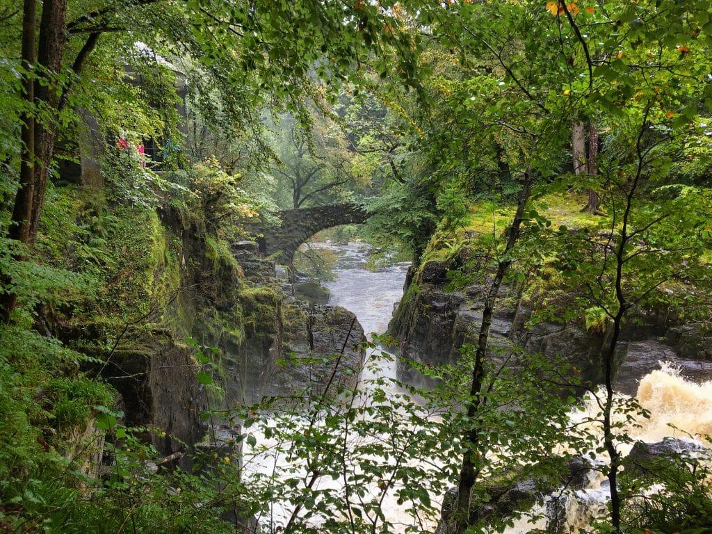 The Black Linn waterfall on the river Braan, near Dunkeld.