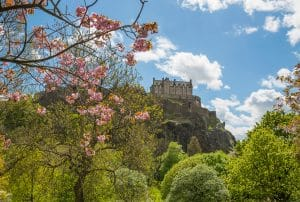 Edinburgh Castle in Spring viewed from Princes Street Gardens